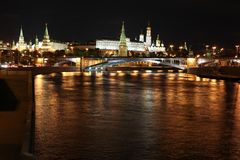 Famous and Beautiful Night View of Moskva river, Big Stone Bridg Stock Photo