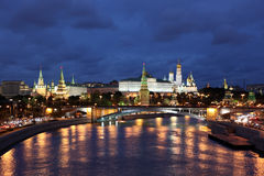Famous and Beautiful Night View of Moskva river, Big Stone Bridg Royalty Free Stock Image