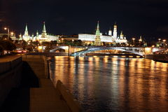 Famous and Beautiful Night View of Moskva river, Big Stone Bridg Royalty Free Stock Photos