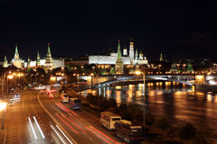 Famous and Beautiful Night View of Moskva river, Big Stone Bridg Stock Photography