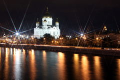 Famous and Beautiful Night View of Moskva river and Cathedral of Royalty Free Stock Photography