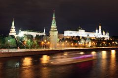 Famous and Beautiful Night View of Moskva river and Moscow Kreml Stock Images