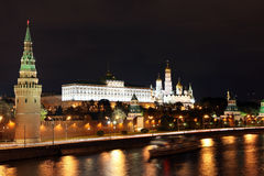 Famous and Beautiful Night View of Moskva river and Moscow Kreml Stock Photography