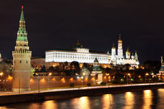 Famous and Beautiful Night View of Moskva river and Moscow Kreml Royalty Free Stock Image