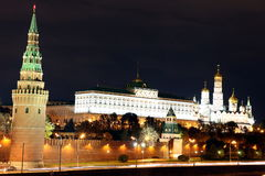 Famous and Beautiful Night View of Moskva river and Moscow Kreml Stock Photos