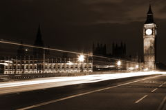 Famous and Beautiful night view to Big Ben and Houses of Parliam Royalty Free Stock Photos
