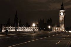 Famous and Beautiful night view to Big Ben and Houses of Parliam Stock Photos