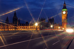 Famous and Beautiful night view to Big Ben and Houses of Parliam Royalty Free Stock Photography