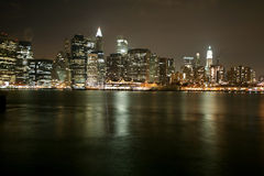 Famous and Beautiful night view to Manhattan from Brooklyn Royalty Free Stock Images
