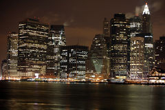Famous and Beautiful night view to Manhattan from Brooklyn, USA Royalty Free Stock Photography