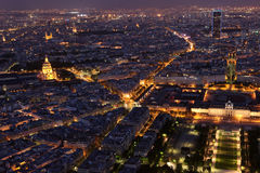 Famous and Beautiful night view to Paris from the Eiffel Tower Stock Photos