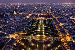 Famous and Beautiful night view to Paris from Eiffel Tower Royalty Free Stock Photos