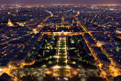 Famous Beautiful night view to Paris from the Eiffel Tower Stock Images
