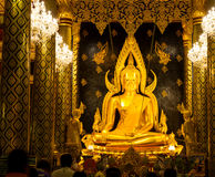 The famous beautiful Thai art, golden buddha statue in Phitsanulok, Thailand Stock Image