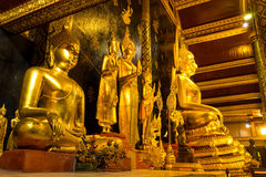 The famous beautiful Thai art, golden buddha statue in Phitsanulok, Thailand Stock Images