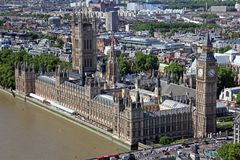 Famous and Beautiful view to Big Ben and the Houses of Parliamen. T in London, UK Royalty Free Stock Image