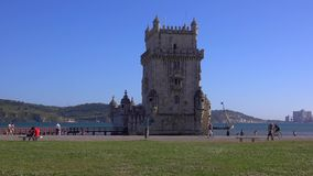 Famous Belem Tower in the city of Lisbon - LISBON / PORTUGAL - JUNE 14, 2017. Famous Belem Tower in the city of Lisbon - LISBON, PORTUGAL 2017 stock footage
