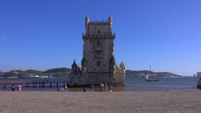 Famous Belem Tower in the city of Lisbon - LISBON / PORTUGAL - JUNE 14, 2017. Famous Belem Tower in the city of Lisbon - LISBON, PORTUGAL 2017 stock video footage