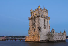 Famous Belem Tower at dusk Royalty Free Stock Photos