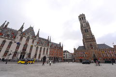 Famous Belfry of Bruges and Provincial Court at Grote Markt in Bruges Royalty Free Stock Photo