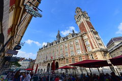 Famous belfry tower of Chamber of Commerce and Industry building in Lille Stock Photos