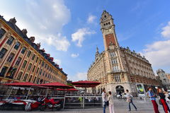 Famous belfry tower of Chamber of Commerce and Industry building in Lille Stock Image