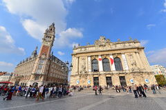 Famous belfry tower of Chamber of Commerce and Industry & Opera Lille buildings Stock Photo