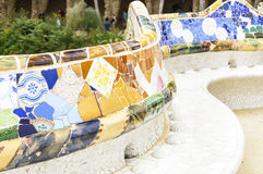 Famous bench in Park Guell, Barcelona Royalty Free Stock Photo