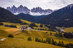 Famous best alpine place of the world, Santa Maddalena St Magda. Lena village with magical Dolomites mountains in background, Val di Funes valley, Trentino Alto Stock Photo