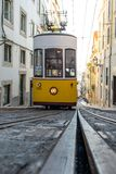Famous Bica funicular in Lissabon. Famous Bica funicular on street of Lissabon constructed by Raoul Mesnier de Ponsard royalty free stock images