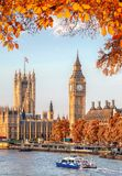 Big Ben with autumn leaves in London, England, UK Royalty Free Stock Photos