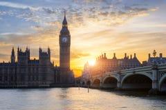 Famous Big Ben at sunset Stock Photo