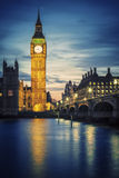 Famous Big Ben tower in London at sunset Royalty Free Stock Photos