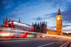 Big Ben with traffic jam in the evening, London, United Kingdom stock photos