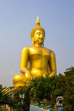 The famous big golden buddha view at aungthong. The famous big golden buddha view at Wat Muang, aungthong,Thailand Stock Photography