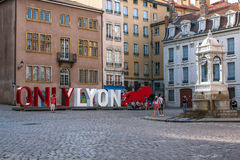 The famous big letters ONLY LYON on the Place Saint-Jean Royalty Free Stock Image