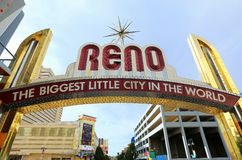 Famous The Biggest Little City in the World sign  over Virginia street in Reno, Nevada Stock Images
