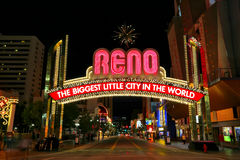 Famous The Biggest Little City in the World sign  over Virginia street in Reno, Nevada Royalty Free Stock Image