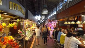 Famous and biggest Market Hall in Barcelona - La Boqueria. Barcelona / Spain stock footage