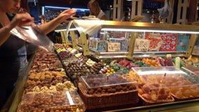 Famous and biggest Market Hall in Barcelona - La Boqueria. Barcelona / Spain stock video