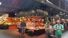 Famous and biggest Market Hall in Barcelona - La Boqueria. Barcelona / Spain stock video footage