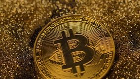 Famous Bitcoin Real Model Falls down on Shining Sparkles Macro stock video