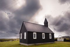 The famous black church of Budir in Iceland royalty free stock photography