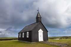 The famous black church of Budir in Iceland stock photo