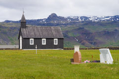 Famous black church in Budir,Iceland. Famous black church in Budir, Western Iceland Stock Photography