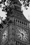 Famous black and white Big Ben clock tower in Lond. Famous Big Ben clock tower in London Royalty Free Stock Images
