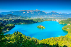 Famous Bled Lake,church and castle,Slovenia,Europe Stock Photo