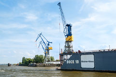 Famous Blohm And Voss Drydock in Hamburg, Germany. HAMBURG, GERMANY - JULY 21, 2014: The famous Blohm And Voss drydock number 10 on July 21, 2014 in Hamburg royalty free stock photos