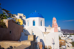 Famous blue church on Santorini island Royalty Free Stock Image