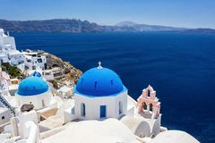 Blue rooftops in Fira Santorini Greece stock photography